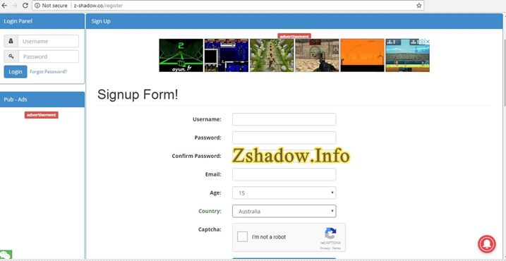 Z Shadow Register Form